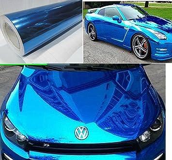 Amazoncom NuoYa Blue X Car Mirror Chrome Sheet Wrap - Chrome custom vinyl decals for trucks