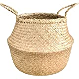 "Try New BAMBISO Brand-Your Best Deal! Seagrass Belly Baskets Wicker Woven Size X- Large 16"" Center Diameter, Best Use for Plant/Flower Holder Decoration, Laundry Storage, Tote Beach"