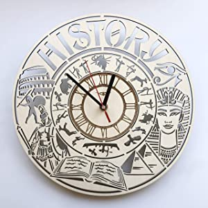 7ArtsStudio History Wall Clock Made of Wood - Perfect and Beautifully Cut - Decorate Your Home with Modern Art - Unique Gift for Him and Her - Vintage Room Bedroom Kitchen Decor - Size 12 Inch