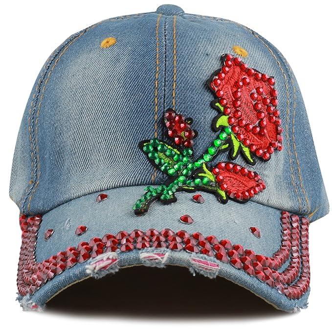 Women's Baseball Caps Bright Women Men Denim Crystal Baseball Cap Adjustable Sports Hats Fashion Rhinestone Snapback Cap Hat