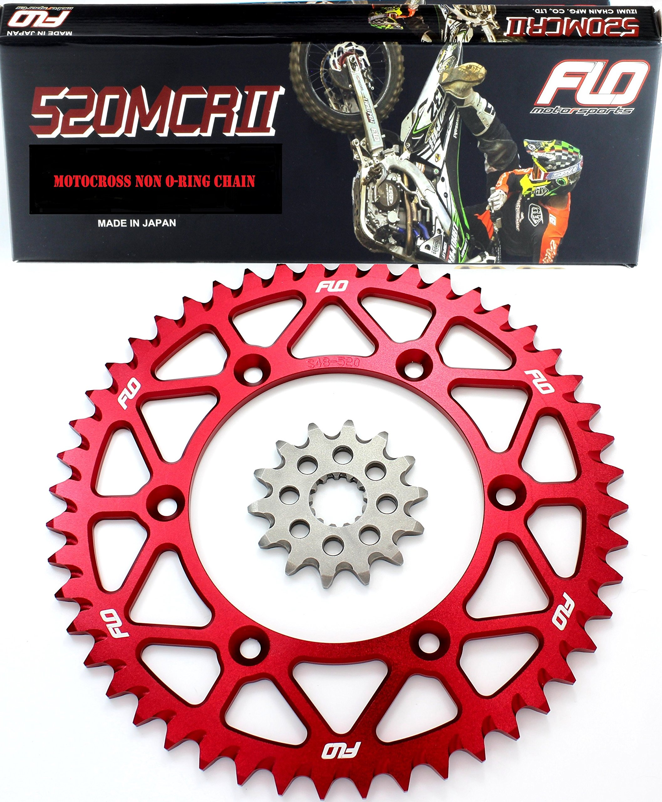Flo Motorsports Gold Chain & Sprocket Combo Kit HONDA CRF250 CR125 CRF250R FRONT SPROCKET 13T / REAR SPROCKET 48, 49, 50, 51, 53 TOOTH (53T, Red)