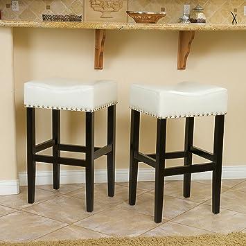 Set of 2 Lennox Backless Leather Counter Stool Black