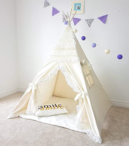 premium selection d45d8 c5d2b Amazon.com: The Teepee Store Ivory Boho Kids Tent Lots of ...