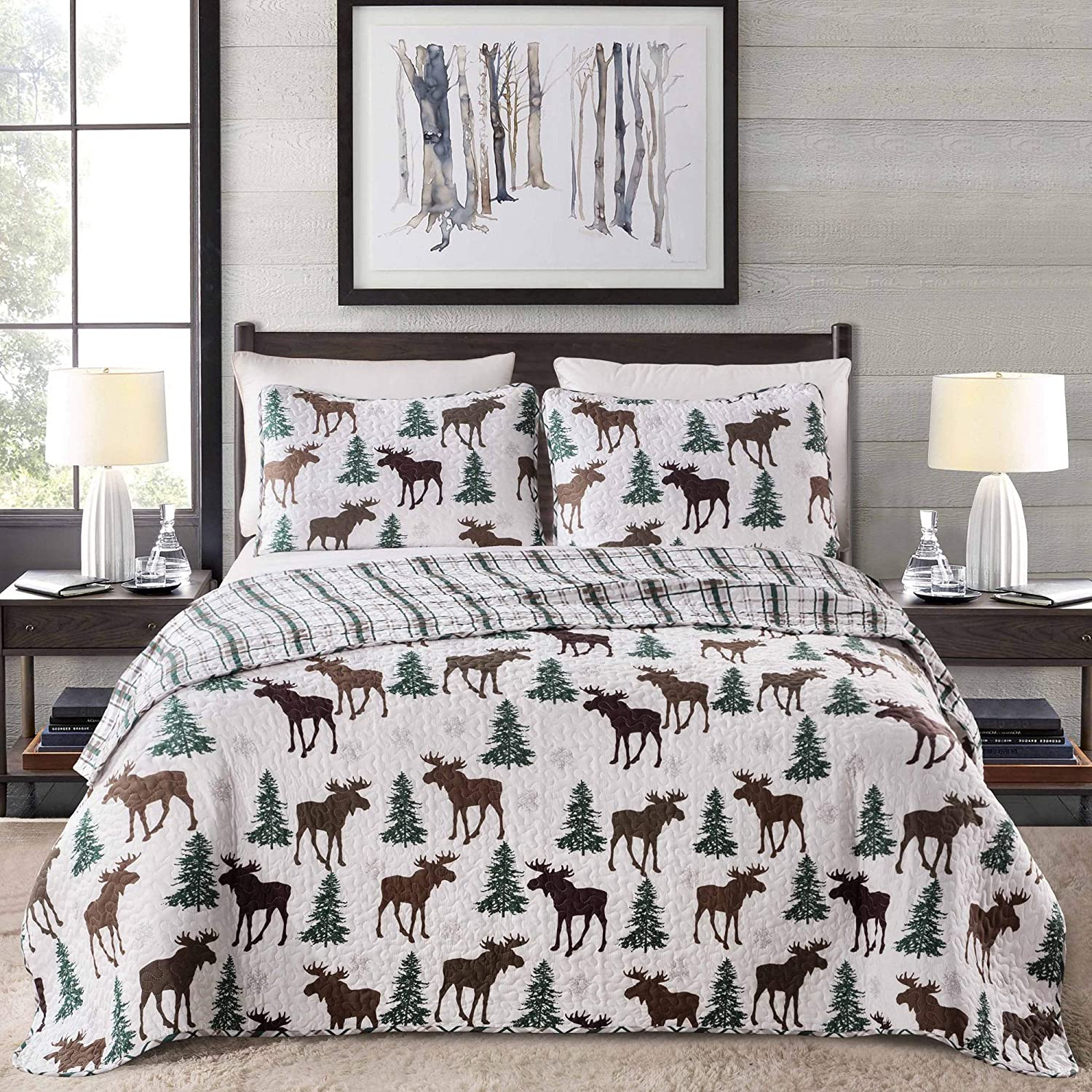 Great Bay Home Lodge Bedspread Full/Queen Size Quilt with 2 Shams. Cabin 3-Piece Reversible All Season Quilt Set. Rustic Quilt Coverlet Bed Set. Wilderness Collection (Moose - Chocolate)