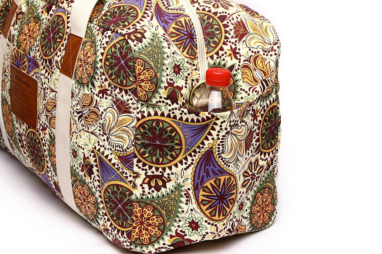 Malirona Canvas Weekender Bag Travel Duffel Bag for Weekend Overnight Trip (Yellow Flower) by Malirona (Image #5)