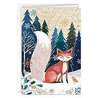 Hallmark UNICEF Boxed Christmas Cards, Folk Art Fox (12 Cards and 13 Envelopes)
