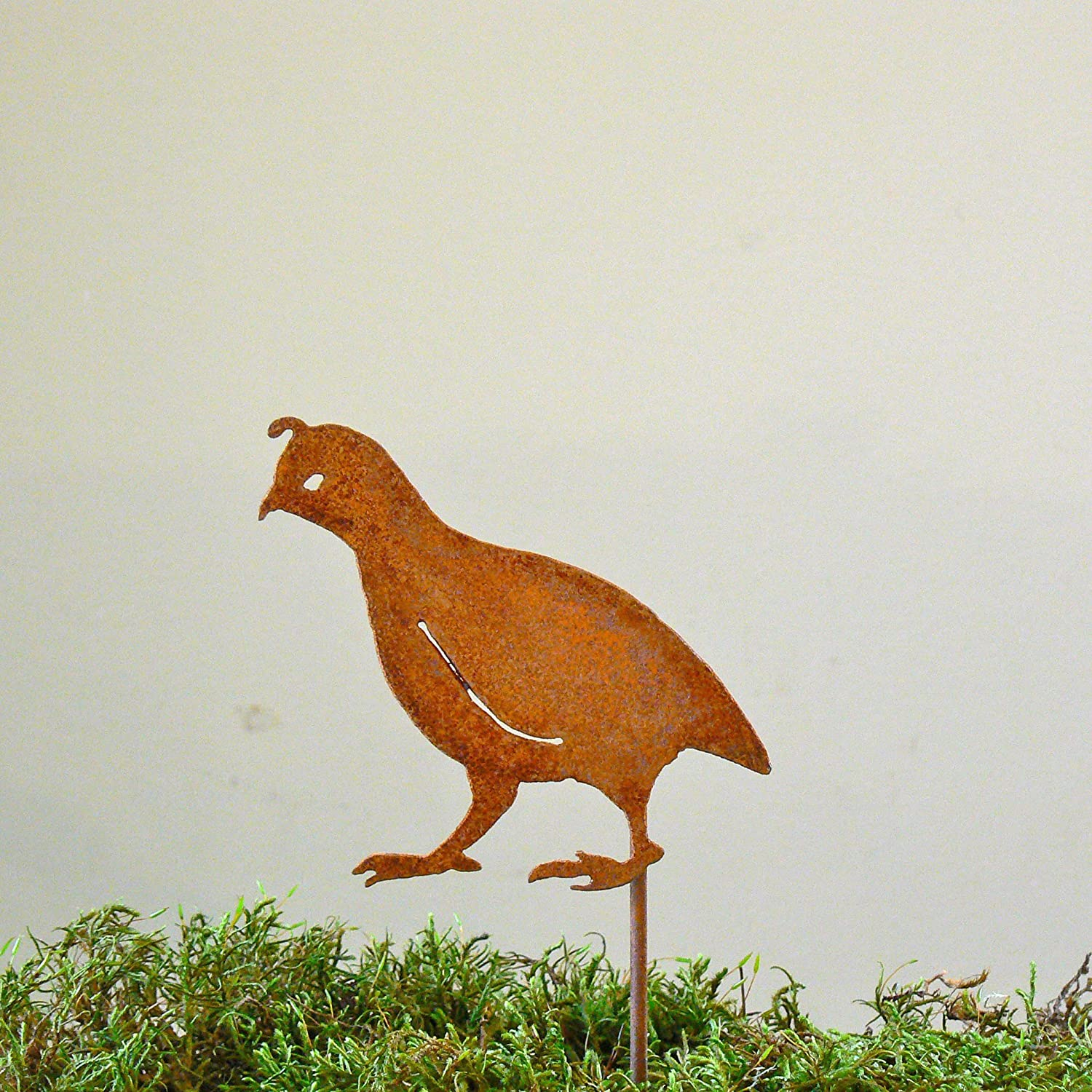 Elegant Garden Design Quail Chick with Head Up Stake, Steel Silhouette with Rusty Patina