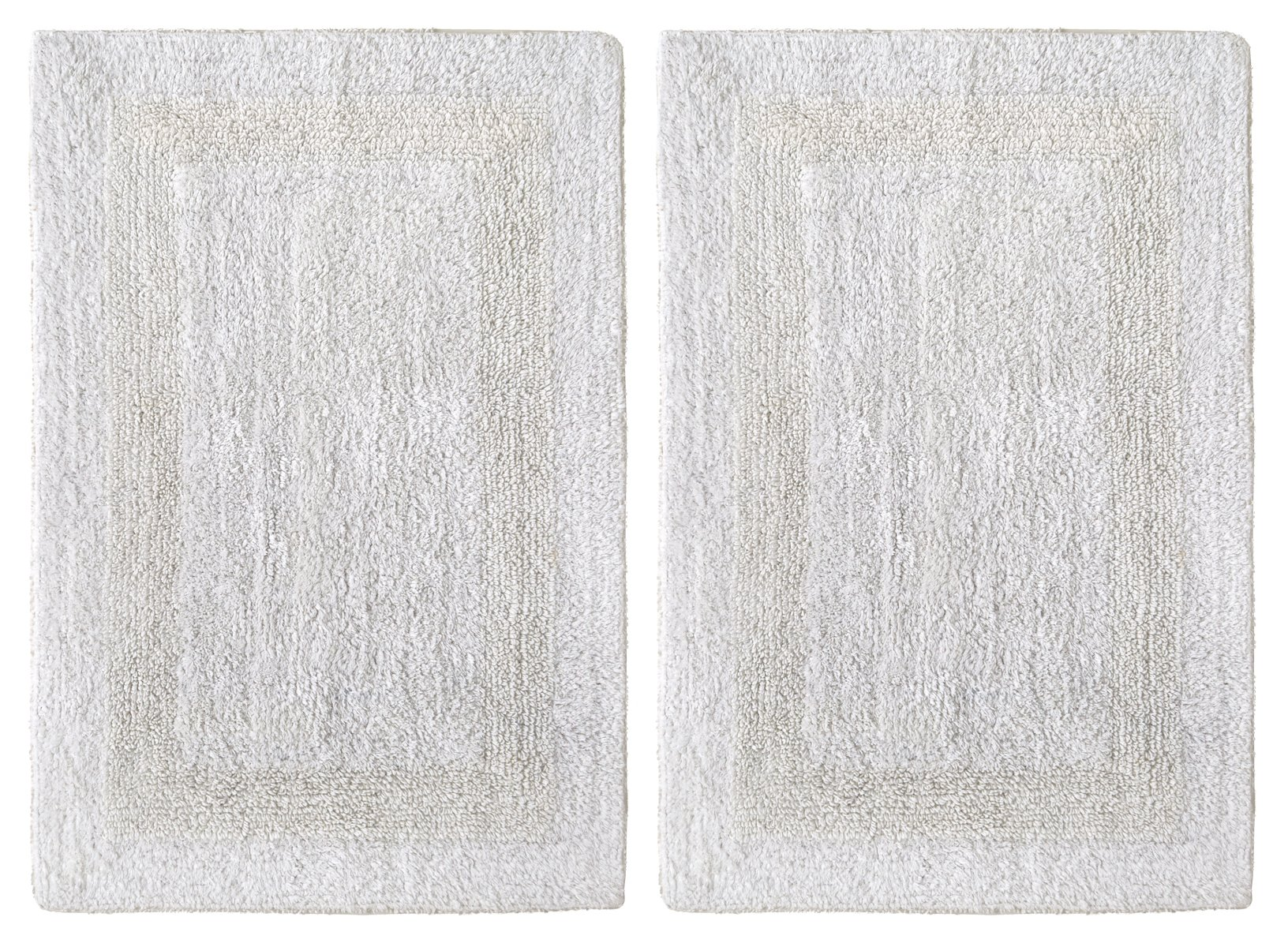 Cotton Craft 2 Piece Reversible Step Out Bath Mat Rug Set 17x24 White, 100% Pure Cotton, Super Soft, Plush & Absorbent, Hand Tufted Heavy Weight Construction, Full Reversible, Rug Pad Recommended by Cotton Craft