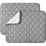 Dish Drying Mat for Kitchen 2 Pack, Ultra Absorbent Microfiber Dishes Drainer Mats by Subekyu,19.2 by 15.8 Inch(Rhombus)