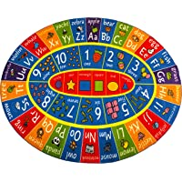 KC Cubs Playtime Collection ABC Alphabet, Numbers and Shapes Educational Learning & Game Area Oval Rug Carpet for Kids and Children Bedrooms and Playroom