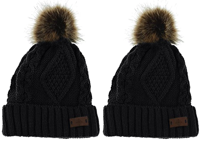 Women s Faux Fur Pom Pom Fleece Lined Knitted Slouchy Beanie Hat (2-Pack  Black 34755983d3c