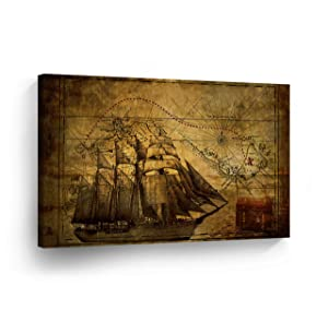 Old World Map Sailing Map Vintage Testament Decorative Canvas Print Nautical Decorative Art Modern Wall Décor Artwork Living Room Office Framed- Ready to Hang -%100 Handmade in The USA - 8x12