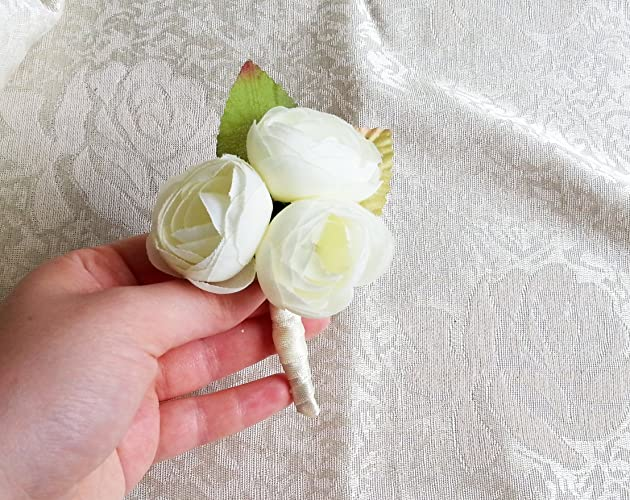 Amazon off white pale green peonies flower wedding boutonniere off white pale green peonies flower wedding boutonniere custom corsage creme green satin ribbon peony mightylinksfo