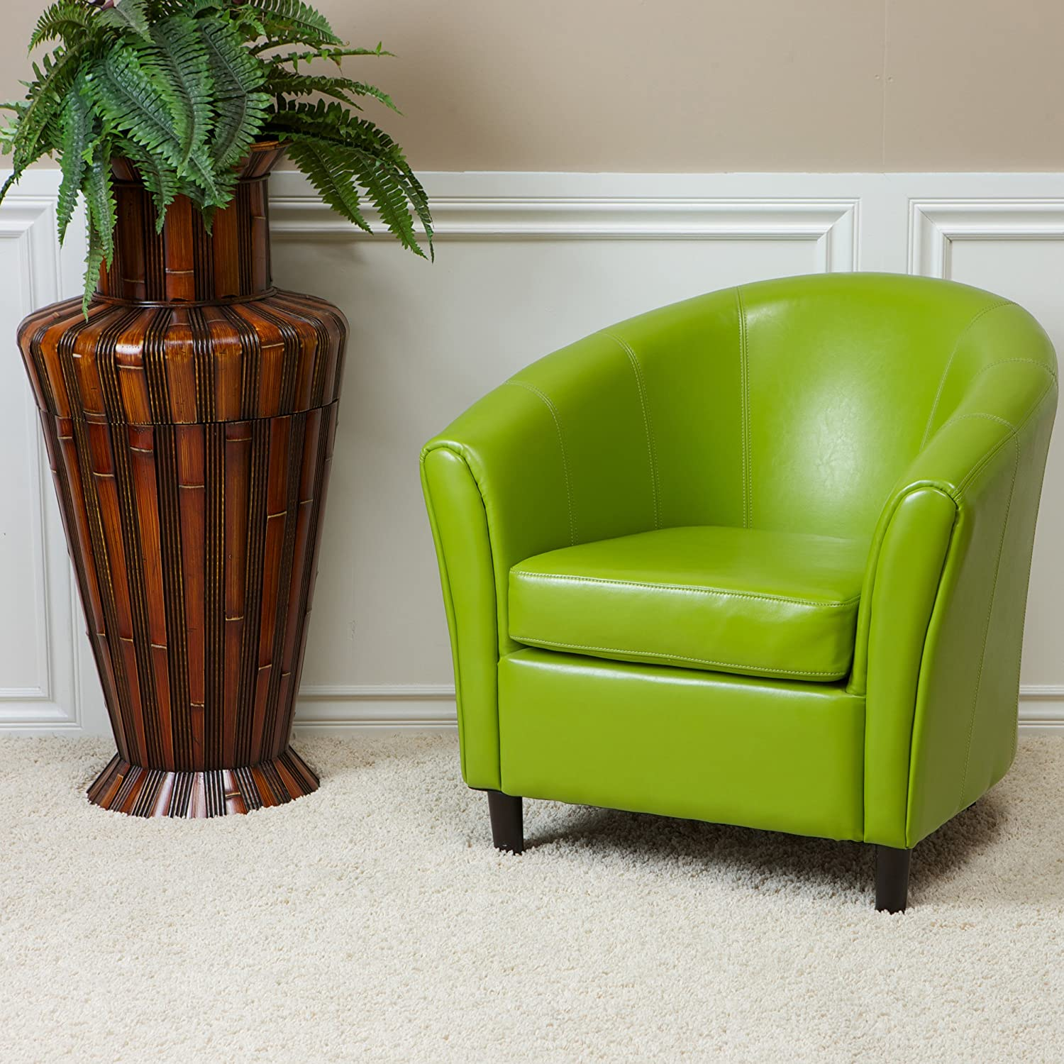 amazon com best selling napoli lime green leather chair kitchen
