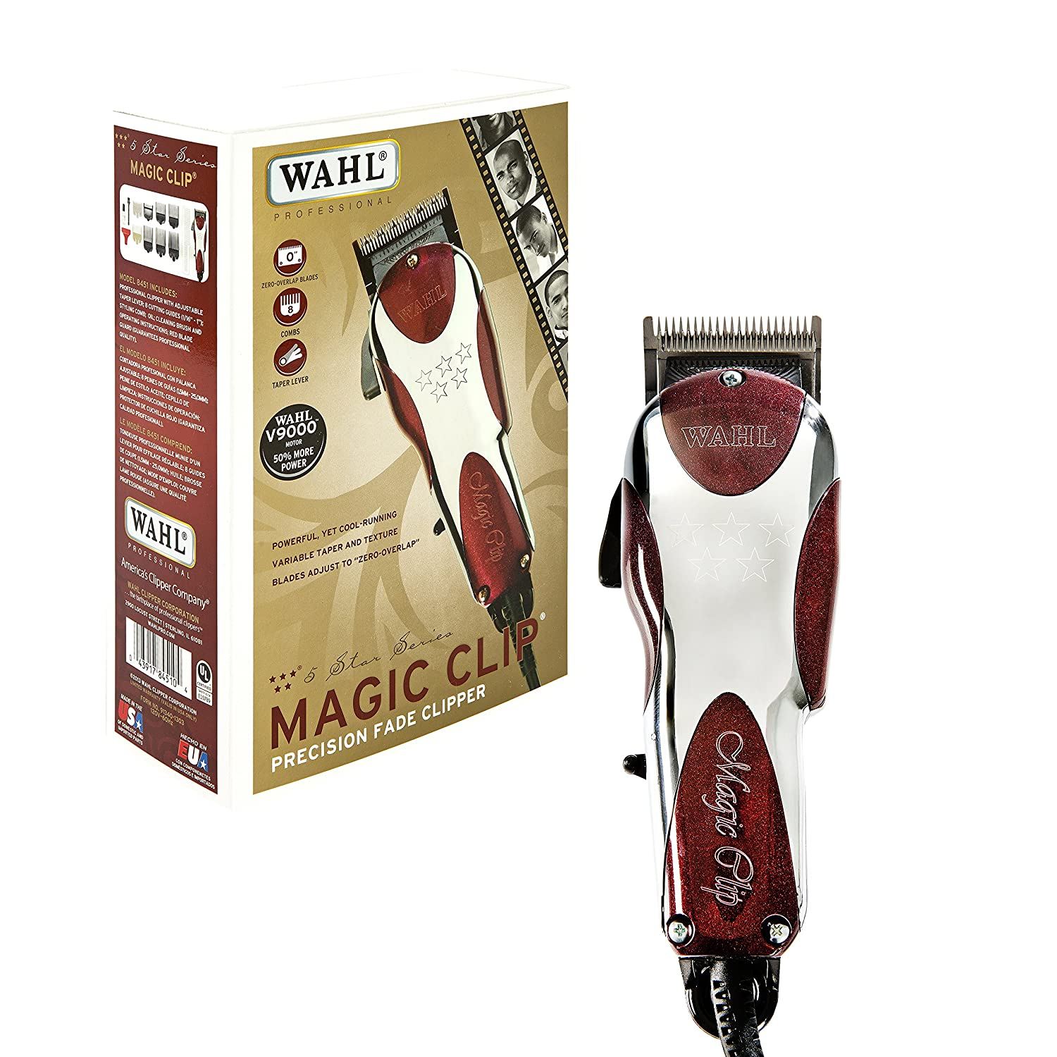 Wahl Professional 5-Star Magic Clip #8451 – Great for Barbers and Stylists – Precision Fade Clipper with Zero Overlap Adjustable Blades, V9000 Cool-Running Motor, Variable Taper and Texture Settings WA8451