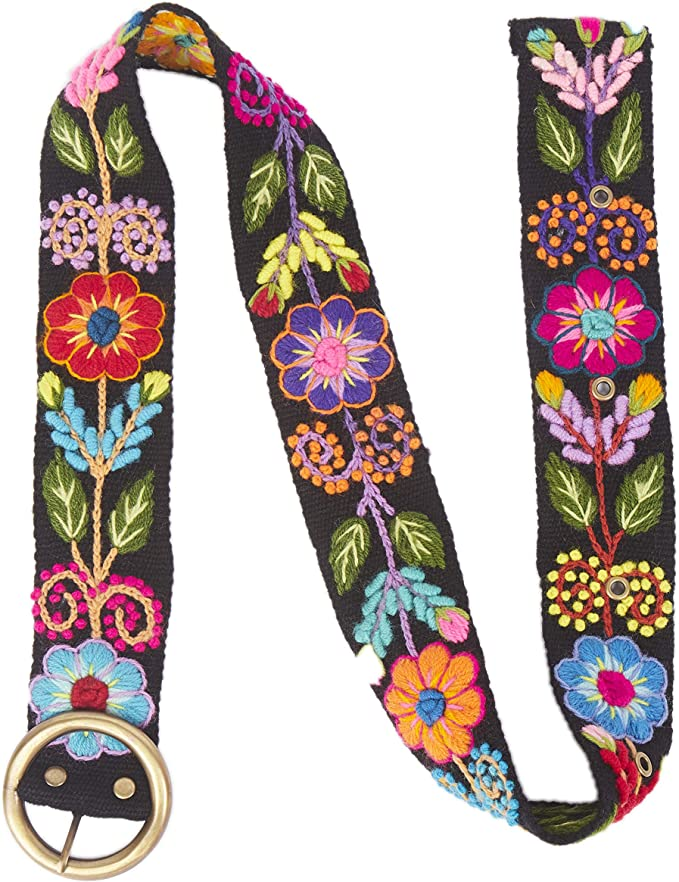 A History of Belts 1920-1960 Raymis Womens 100% Alpaca Wool Handmade Fair Trade Belt with Colorful Embroidered Flowers $49.99 AT vintagedancer.com