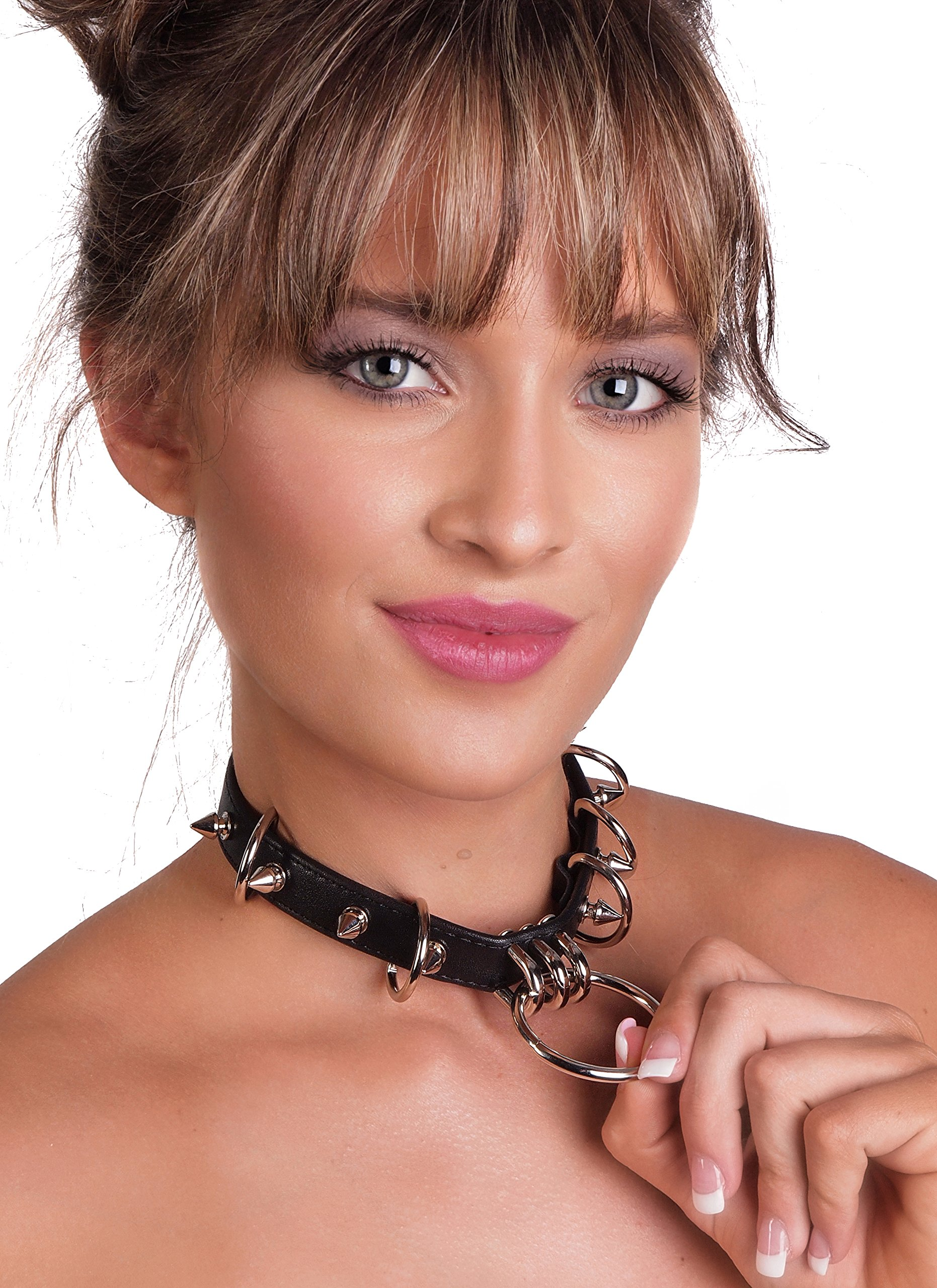Western Fashion, inc. Spike Choker with Rings and Studs Metal PU Leather Goth