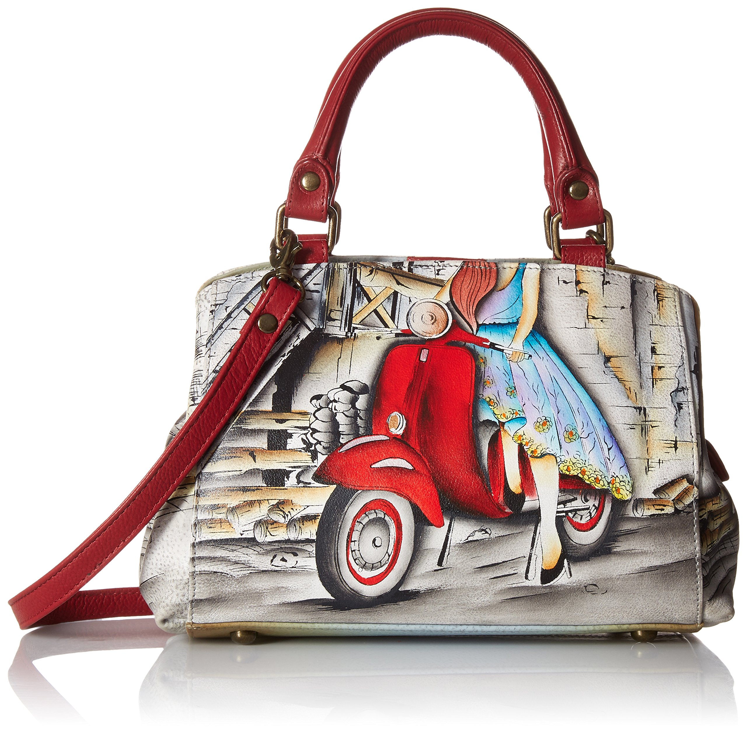Anna by Anuschka Hand Painted Leather Women's Small MULTICOMPARTMENT Satchel, roman dreams