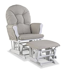 Storkcraft Premium Hoop Glider and Ottoman (White Base, Taupe Swirl Cushion) – Padded Cushions with Storage Pocket, Smooth Rocking Motion, Easy to Assemble, Solid Hardwood Base