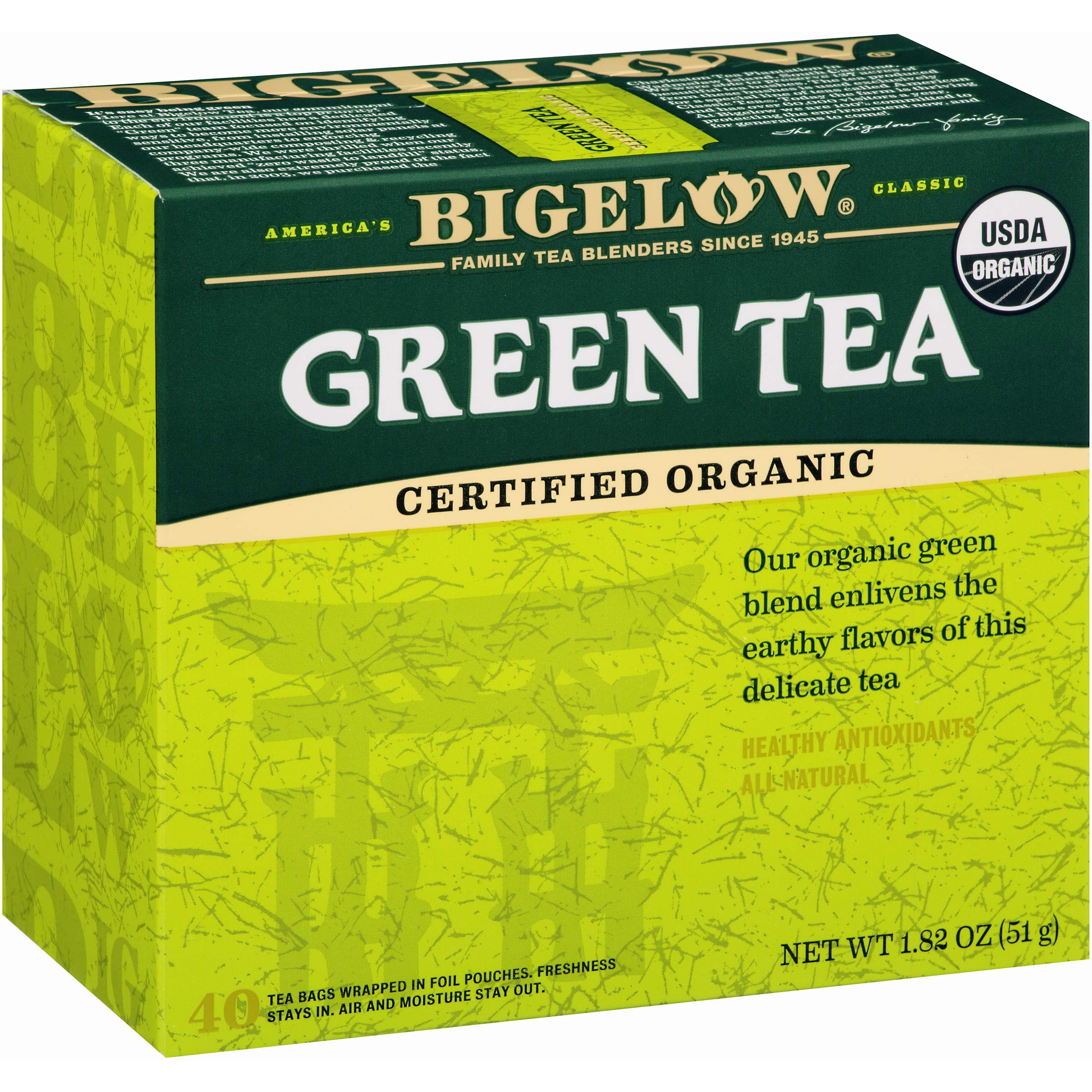 Bigelow Organic Green Tea 40 Bags (Pack of 6), 240 Tea Bags Total. Organic Caffeinated Individual Green Tea Bags, for Hot Tea or Iced Tea, Drink Plain or Sweetened with Honey or Sugar