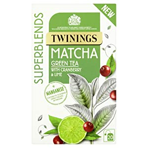 Twinings Matcha 20 Tea Bags – Cranberry and Lime flavoured Green Tea with Matcha and added Manganese. Manganese contributes to normal energy-yielding metabolism