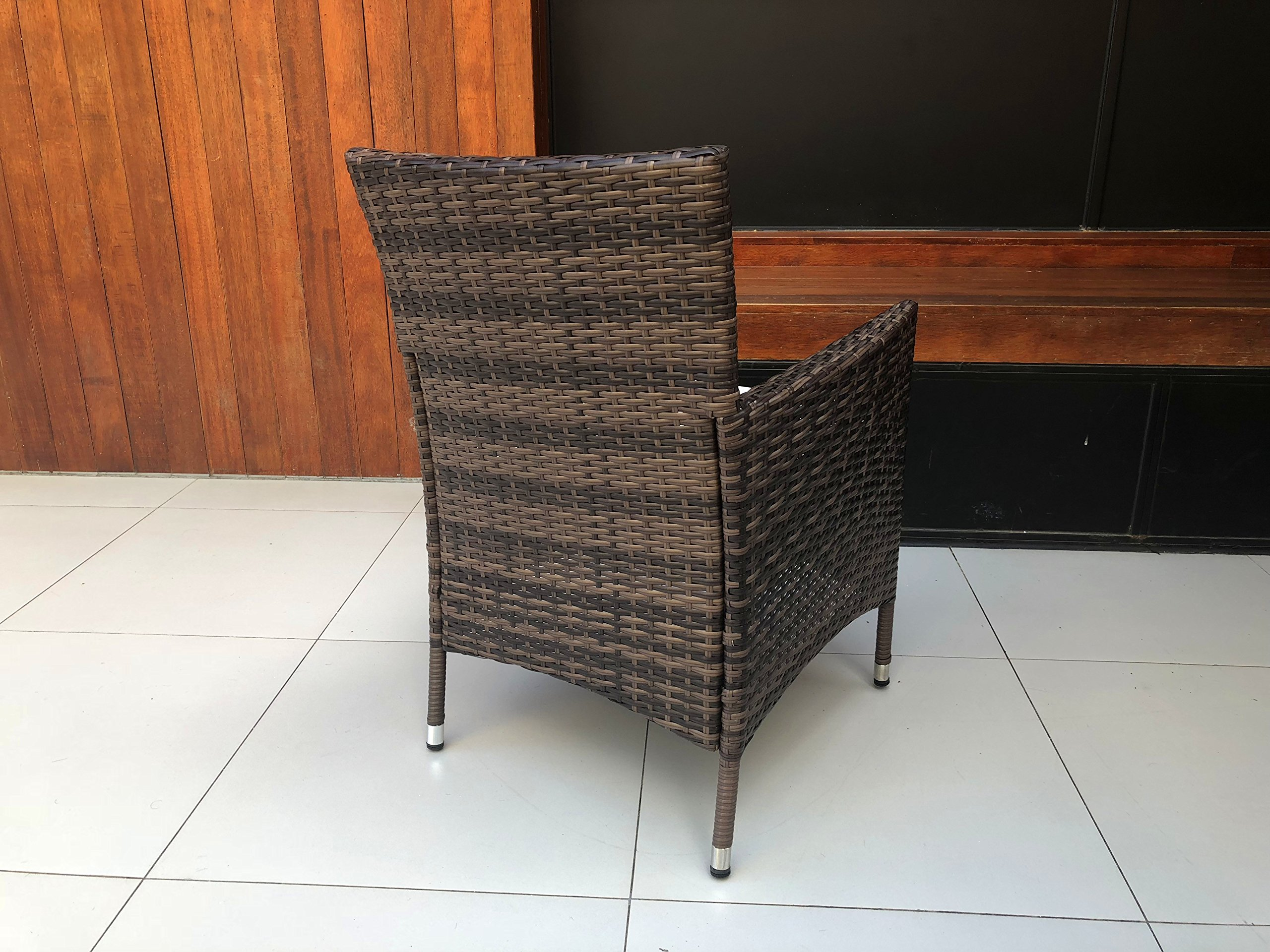 HTTH 2 Pcs Patio Rattan Dining Chairs with Soft Sofa Cushion   Wicker, Outdoor, Backyard, Porch, Garden, Poolside (2 Pcs, Mixed) by HTTH (Image #4)