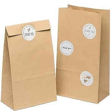 50 bolsas de papel marrón bolsas de regalo 14 x 26 x 8 cm ...
