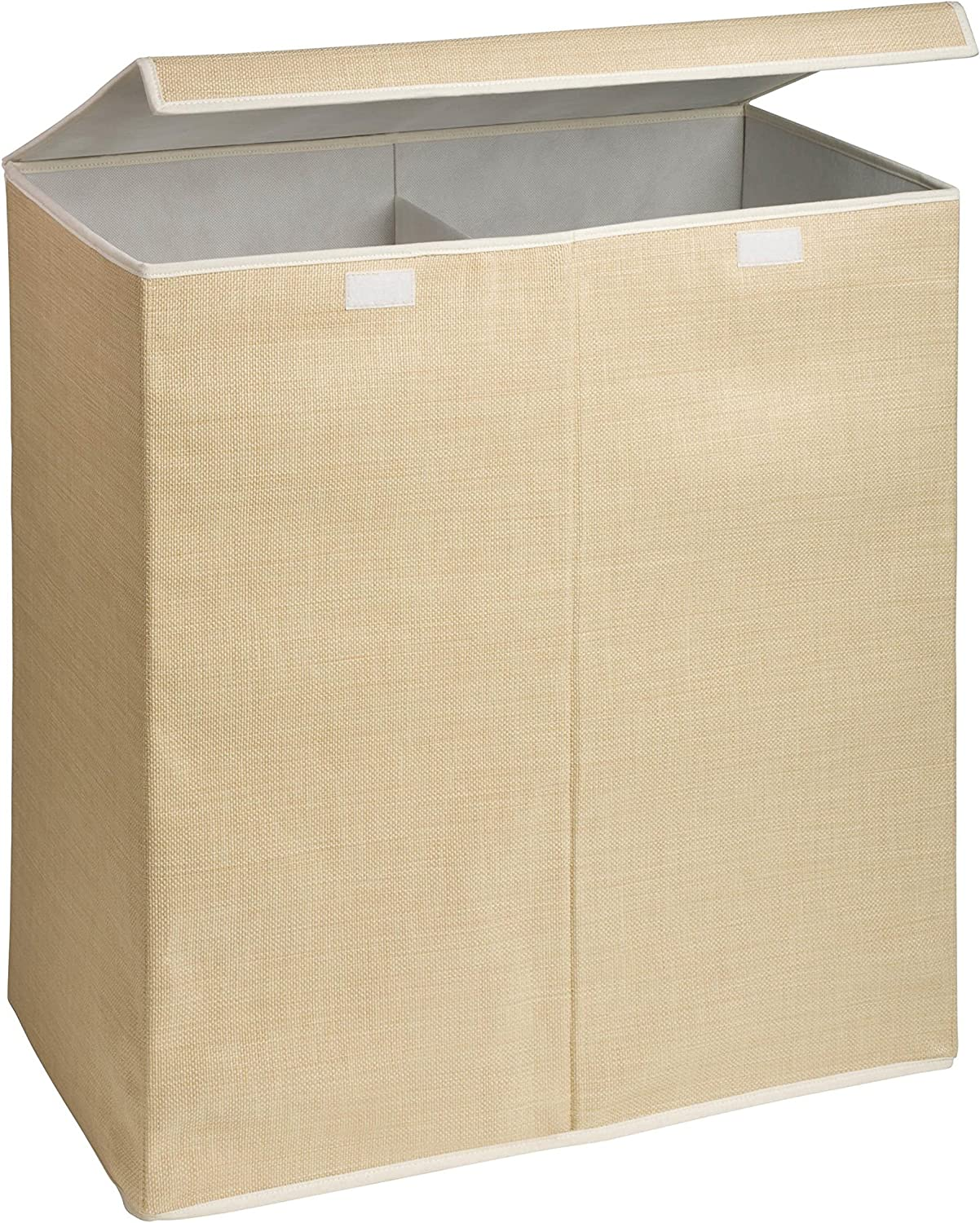 Honey-Can-Do Large Dual Laundry Hamper with Lid, Natural Resin