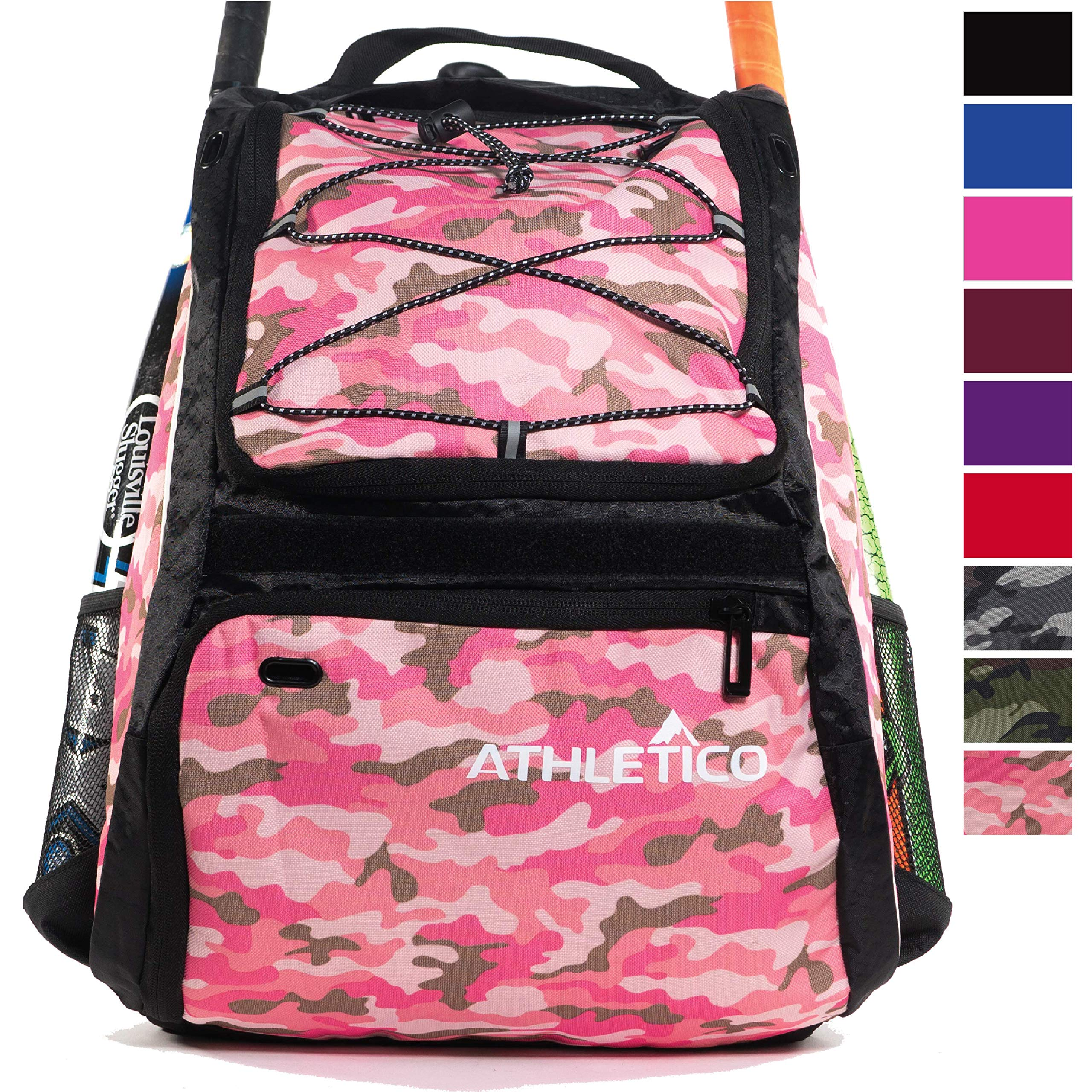 Athletico Baseball Bat Bag - Backpack for Baseball, T-Ball & Softball Equipment & Gear for Youth and Adults | Holds Bat, Helmet, Glove, Shoes |Shoe Compartment & Fence Hook (Pink Camo) by Athletico