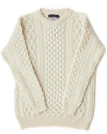Irish Fisherman Sweater Aran Knit Natural 100 Merino Wool Made In