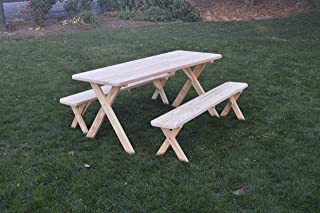 product image for Pressure Treated Pine Unfinished 5 Cross Leg Picnic Table with Detached Benches