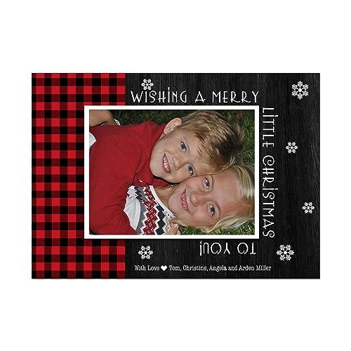 Amazon Com Buffalo Plaid Red And Black Photo Christmas Cards With