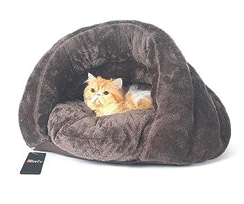 Bwiv – Saco de dormir antideslizante para mascotas (perro o gato) con cojí