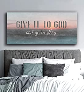 Sense Of Art | Give it to God and go to Sleep Quote | Wooden Framed Canvas | Ready to Hang Wall Art for Home Decoration