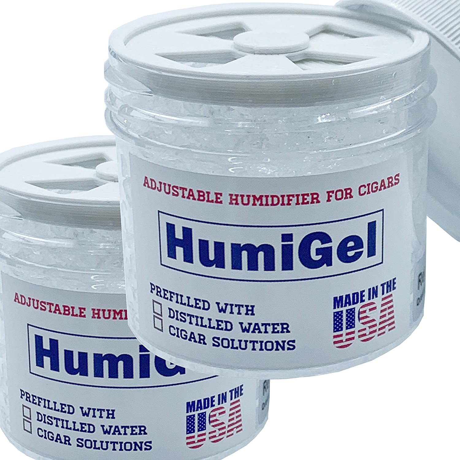 Cigar humidifiers for humidors NEW 2021 HumiGel Adjustable humidifier 65%-70% RH - 2 PACK | Humigel Crystal Gel Humidifier, 2 oz jar | Made in USA by HumiGel