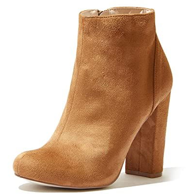 DailyShoes Women's High Heel Boots Round Toe Ankle Cowboy Bootie Perfect for Casual Day or Night Wear   Ankle & Bootie