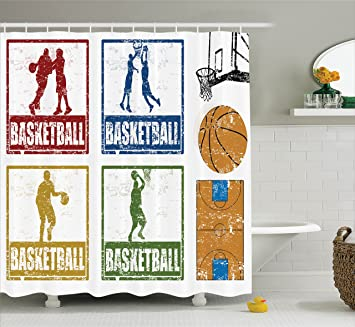 Sports Decor Shower Curtain Set By Ambesonne, Collection Of Vintage Rubber  Stamp Print Style Illustration