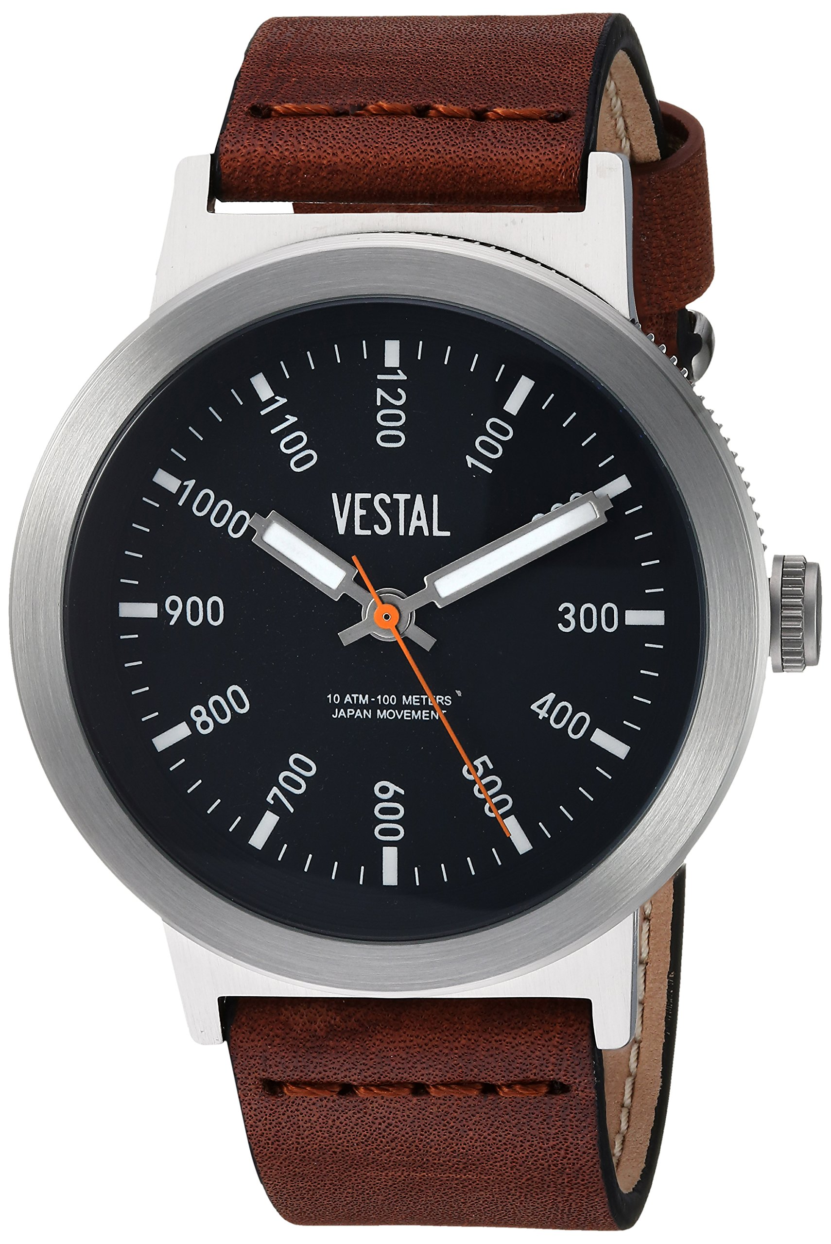 Vestal Men's Retrofocus Stainless Steel Japanese-Quartz Watch with Leather Strap, Brown, 21.7 (Model: SLR443L01.BRBK