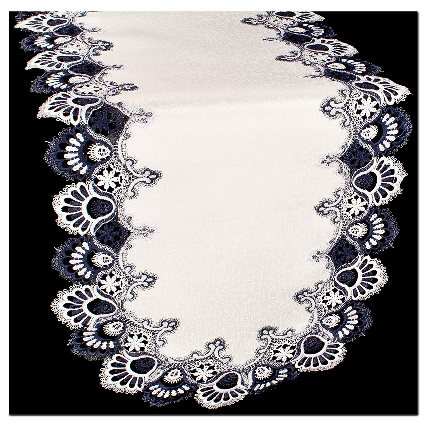 Blue White Lace 53 Dresser Scarf Table Runner Doily Navy Galleria di Giovanni
