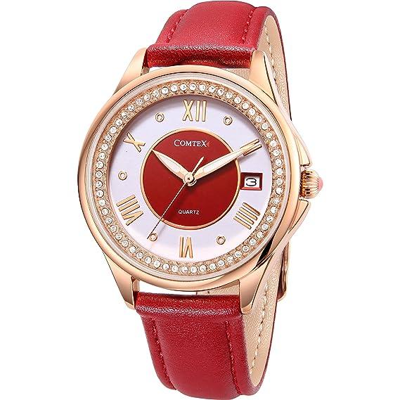 Comtex Relojes Mujer Rojo Elegantes con Oro Rosa Caso Cuero Correa Fecha Ventana