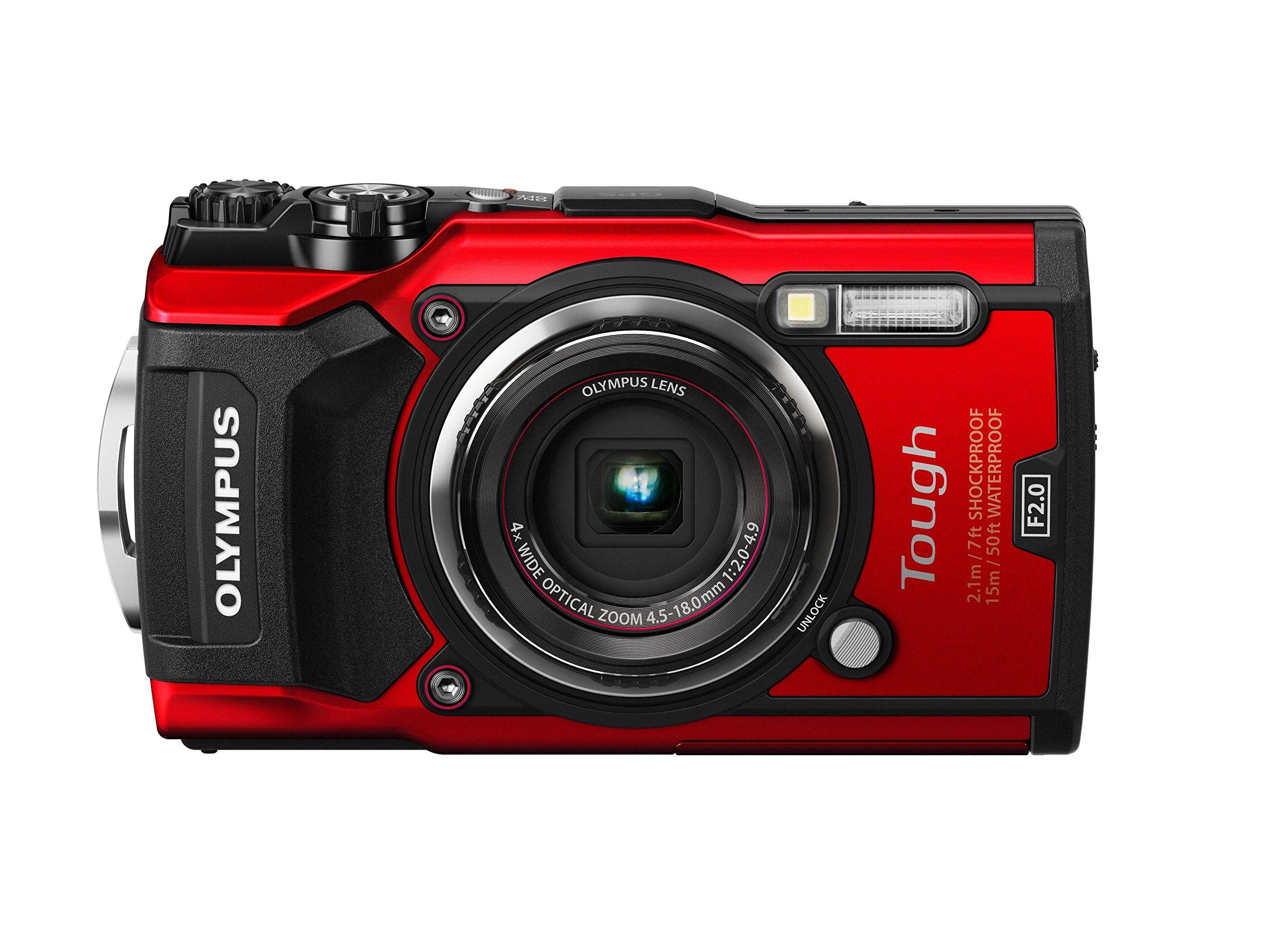 Olympus TG-5 Waterproof Camera with 3-Inch LCD, Red (V104190RU000) by Olympus