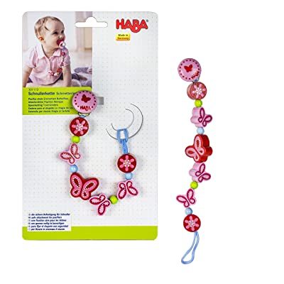 HABA Enchanted Butterflies Wooden Pacifier Chain (Made in Germany) : Baby