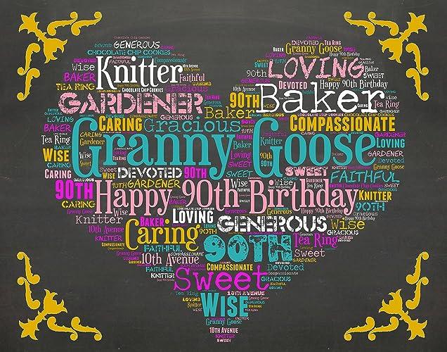 90th Birthday Gifts Gift Ideas 60 Chalkboard