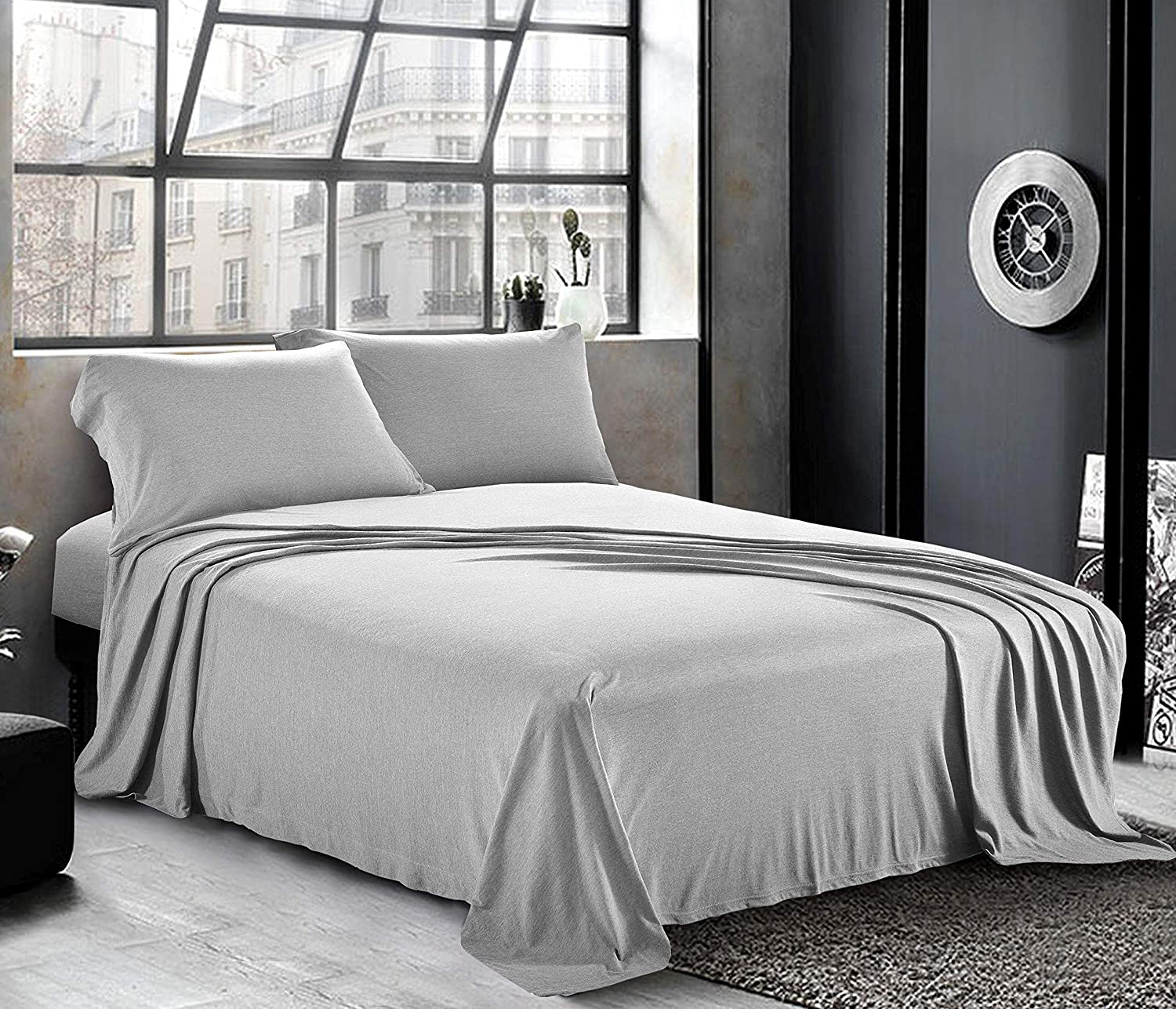 Jersey Sheets Twin/Twin XL [3-Piece, Light Gray] Hotel Luxury Bed Sheets - Extra Soft Cotton Sheet Set, Cozy T-Shirt All Season Heather Sheets - Deep Pocket Fitted Sheet, Flat Sheet, Pillow Cases