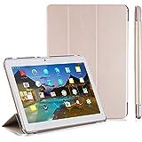 """LNMBBS Funda para Tablet de 10"""" Flip Cover de PU Cuero y Cáscara Trasera de acrílico, para YOTOPT 10.1 / BEISTA 10.1 / SUMTAB10.1 / SANNUO 10.1 Tablet (Oro)"""