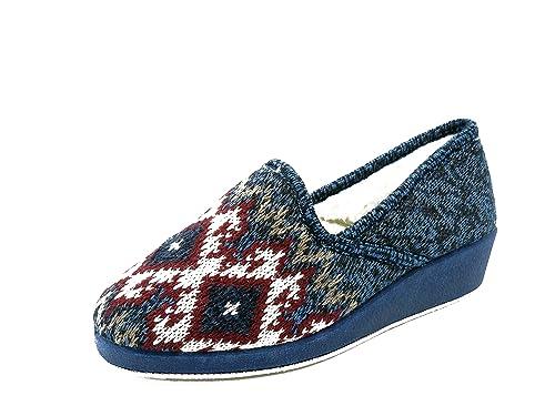 Wamba Zapatilla mujer estar por casa cerrada, en lana color azul marino y forro abrigo - 00137-1: Amazon.es: Zapatos y complementos