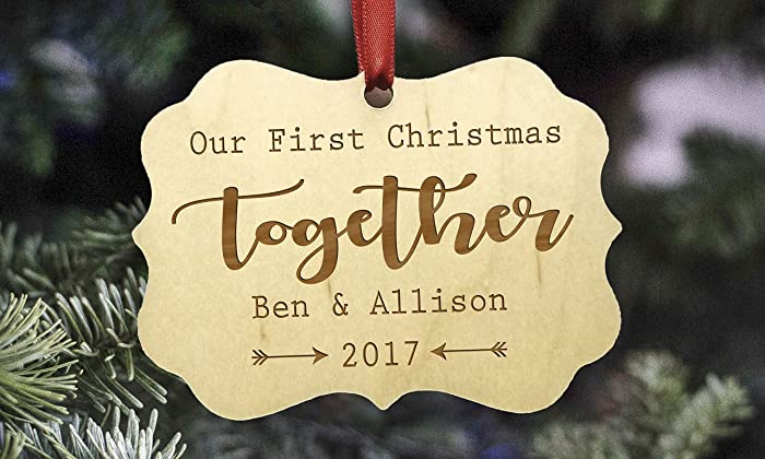 personalized couples christmas ornament family christmas ornament personalized christmas ornament wooden ornament - Couples First Christmas Ornament