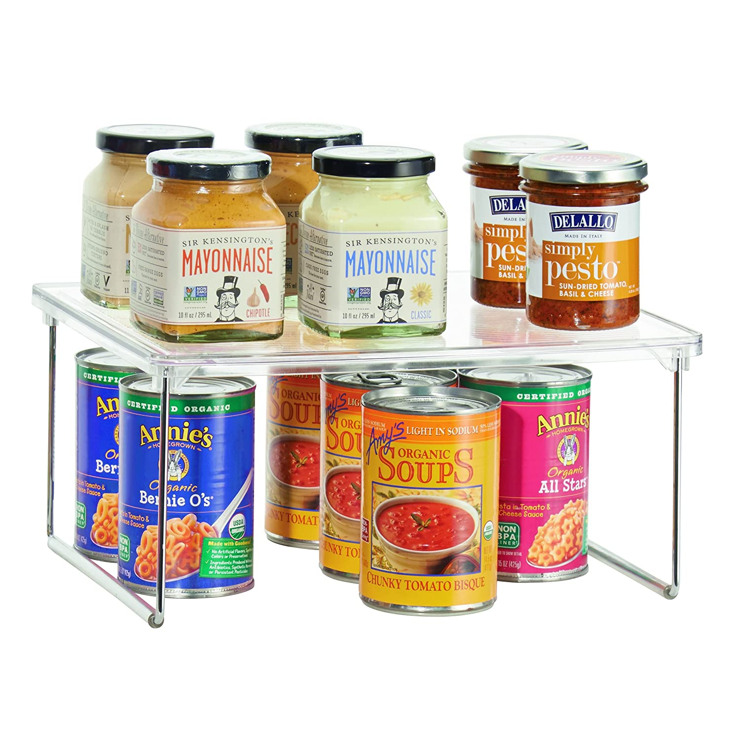 InterDesign Linus Pantry Shelving Unit, Kitchen Shelf Ideal for Ingredients, Jars and Utensils, Plastic, Clear, 30.5 x 25.5 x 15.2 cm