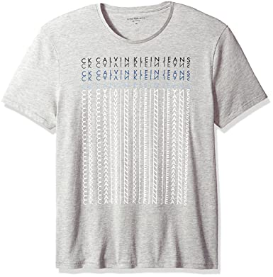 a3263242b214 Calvin Klein Jeans Men s Short Sleeve Mirror Image Logo Crew Neck T-Shirt