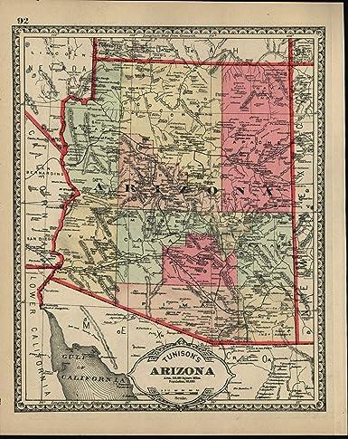 Map Of Old Arizona.Amazon Com Arizona State C 1890 Population Shown As 59 620 Old Map